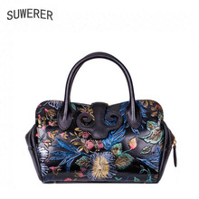 SUWERER NEW Women Genuine Leather Bag Fashion re cowhide leather shoulder bag women handbag women bags designer leather tote bag tomubird 2018 new women genuine leather bag handmade embossing flower top cowhide luxury tote women leather shoulder bags