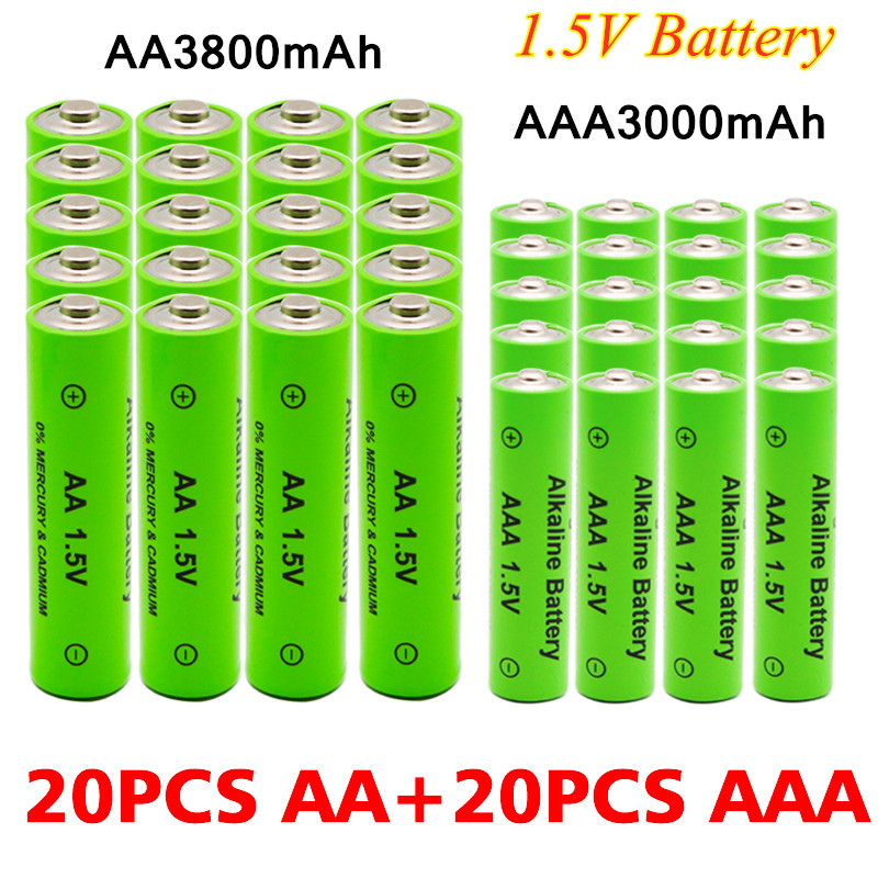 100% New 1.5V AA 3800mAh Alkaline battery + AAA 3000mAh Alkaline Rechargeable battery aa aaa for led light toy mp3 free shipping image