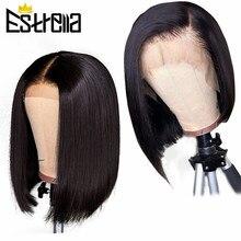 Perruque Bob Lace Front Wig naturelle brésilienne, cheveux Remy, 150% cheveux lisses, pre-plucked, 13x4
