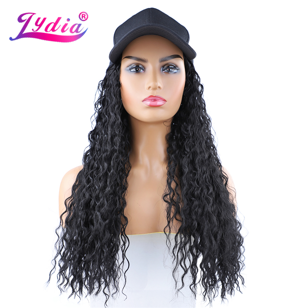 Lydia Adjustable Hat Wig  Women Hats Long Water Wave Hair Extensions With Black Female Baseball Cap All-in-one Hat Synthetic