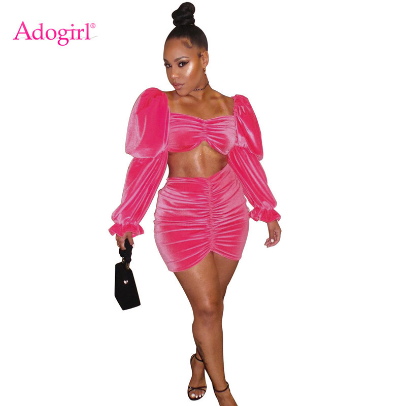 Adogirl 2019 Autumn Winter Pink Velvet Two Piece Set Dress Ruched Strapless Long Puff Sleeve Crop Top Bodycon Mini Pleated Skirt