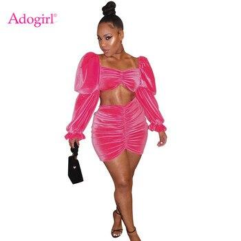 Adogirl, Осень-зима 2019, розовый Бархатный комплект из двух предметов, платье с рюшами без бретелек, длинный Пышный рукав, короткий топ, облегающая мини плиссированная юбка