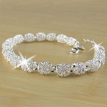 Beautiful Elegant 925 Silver color Bracelet Chain Bracelet Bangle for Women Lady Fashion Jewelry beautiful fashion free shipping silver 925 charm bracelet gorgeous jewelry silver 925 pole chain bracelet
