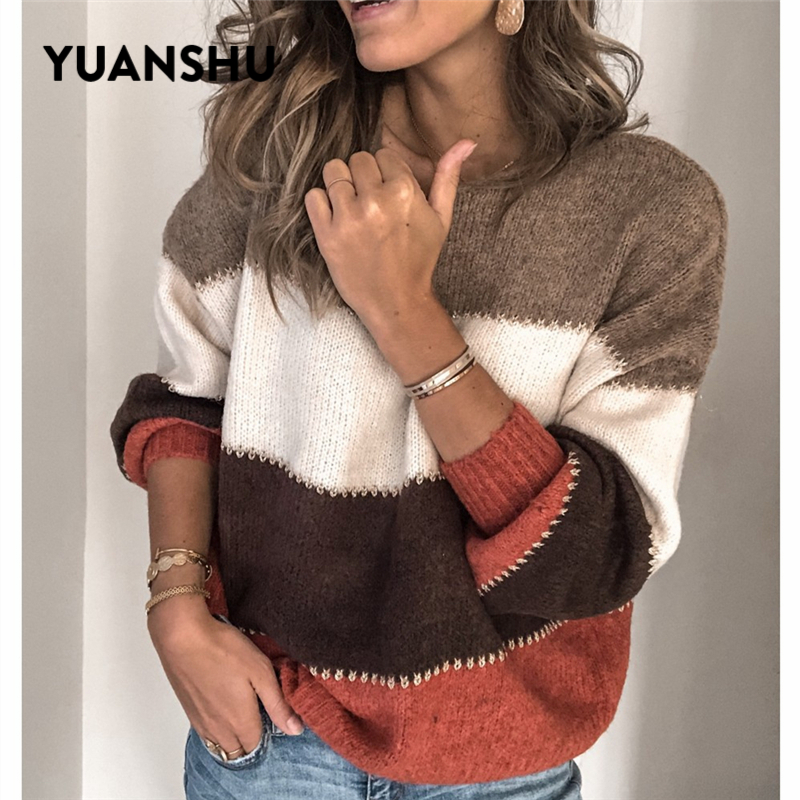 YUANSHU Casual Patchwork Sexy Knitted Sweater Women Spring Autumn Loose Striped Tops Jumper Office Ladies Oversized Pullover