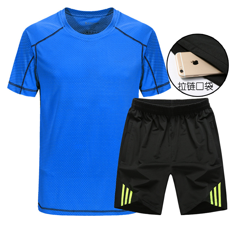 Men's Morning Run Sports Set Summer Short-sleeved Shorts Quick-drying T-shirt Fitness Running Sports Clothing Casual Two-Piece S