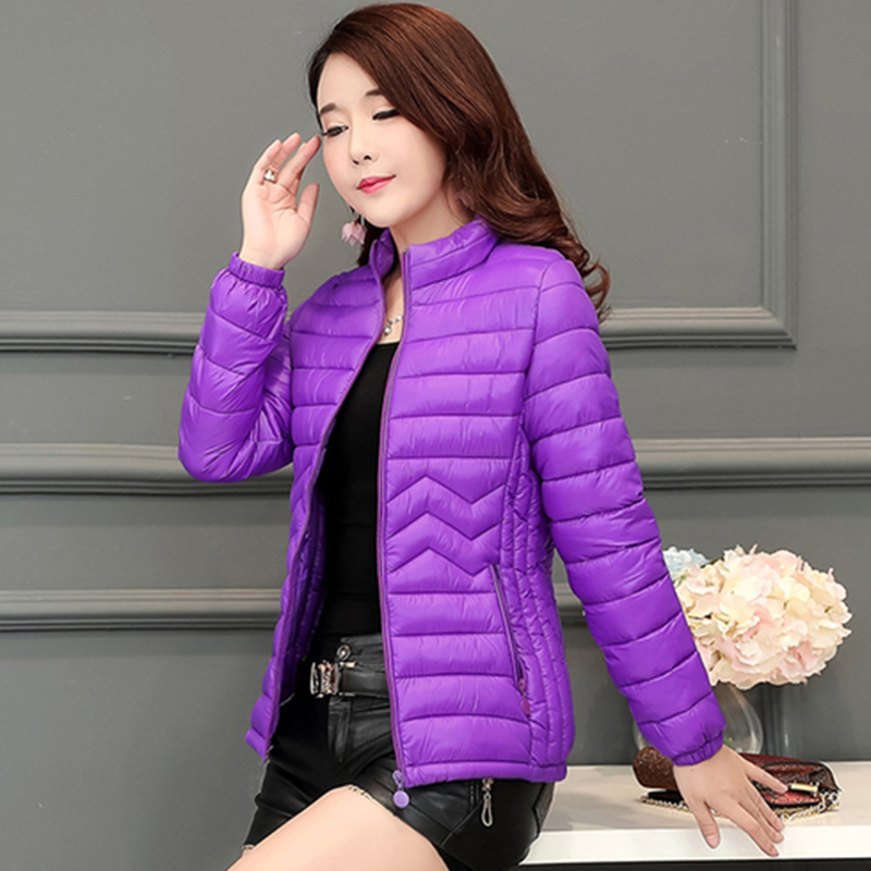 Short Slim Solid Down Coat Women Winter Casual Warm Long Sleeve Down Jacket Female Korean Versatile Large Size Outerwear Purple