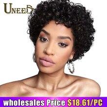 Uneed волосы 130% плотность короткий парик-боб бразильские вьющиеся человеческие волосы парики для женщин натуральные черные не Реми волосы