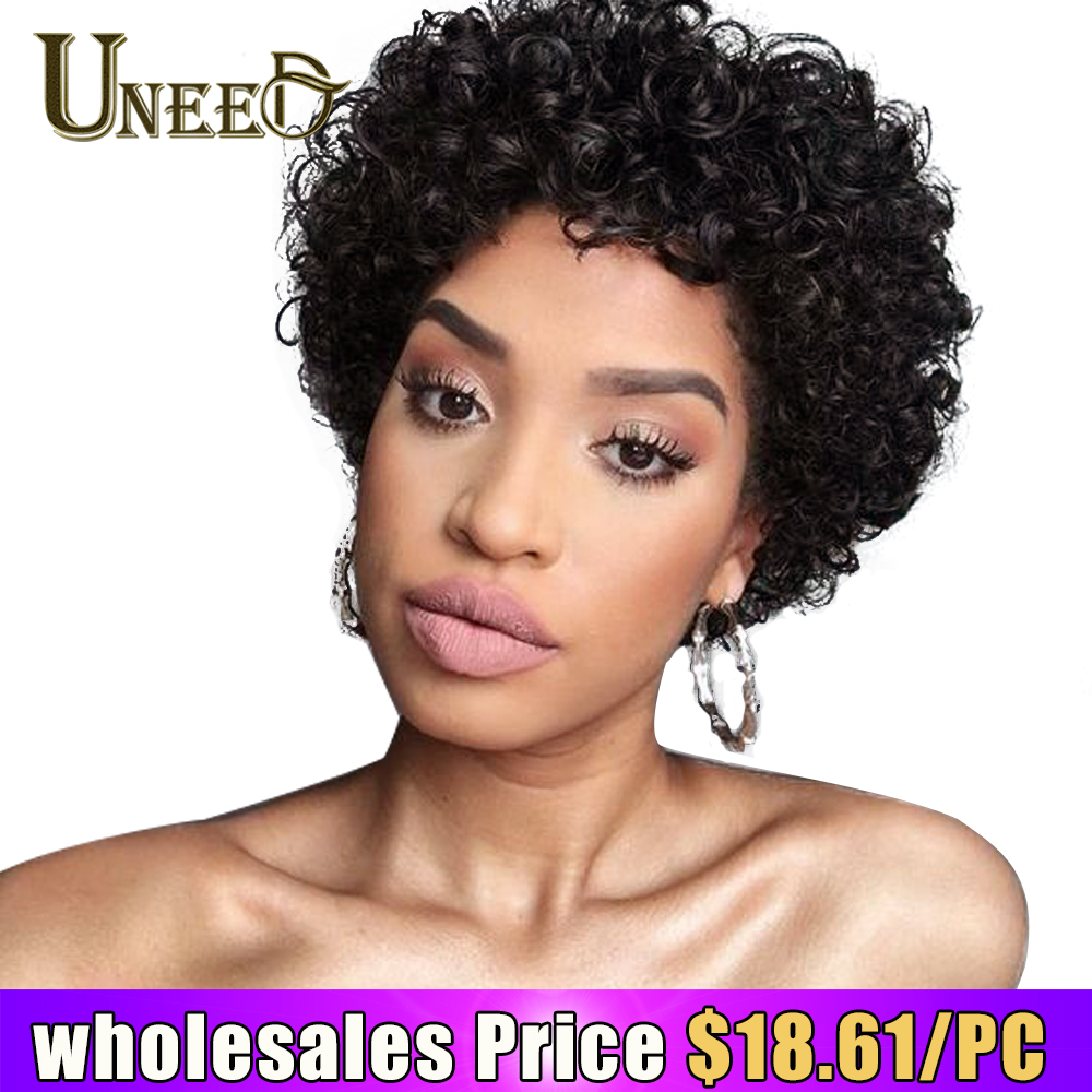 Wholesales Price 1/3/5/10 PCS 130% Density Short Bob Wig Brazilian Curly Human Hair Wigs For Women Natural Black Non Remy Hair