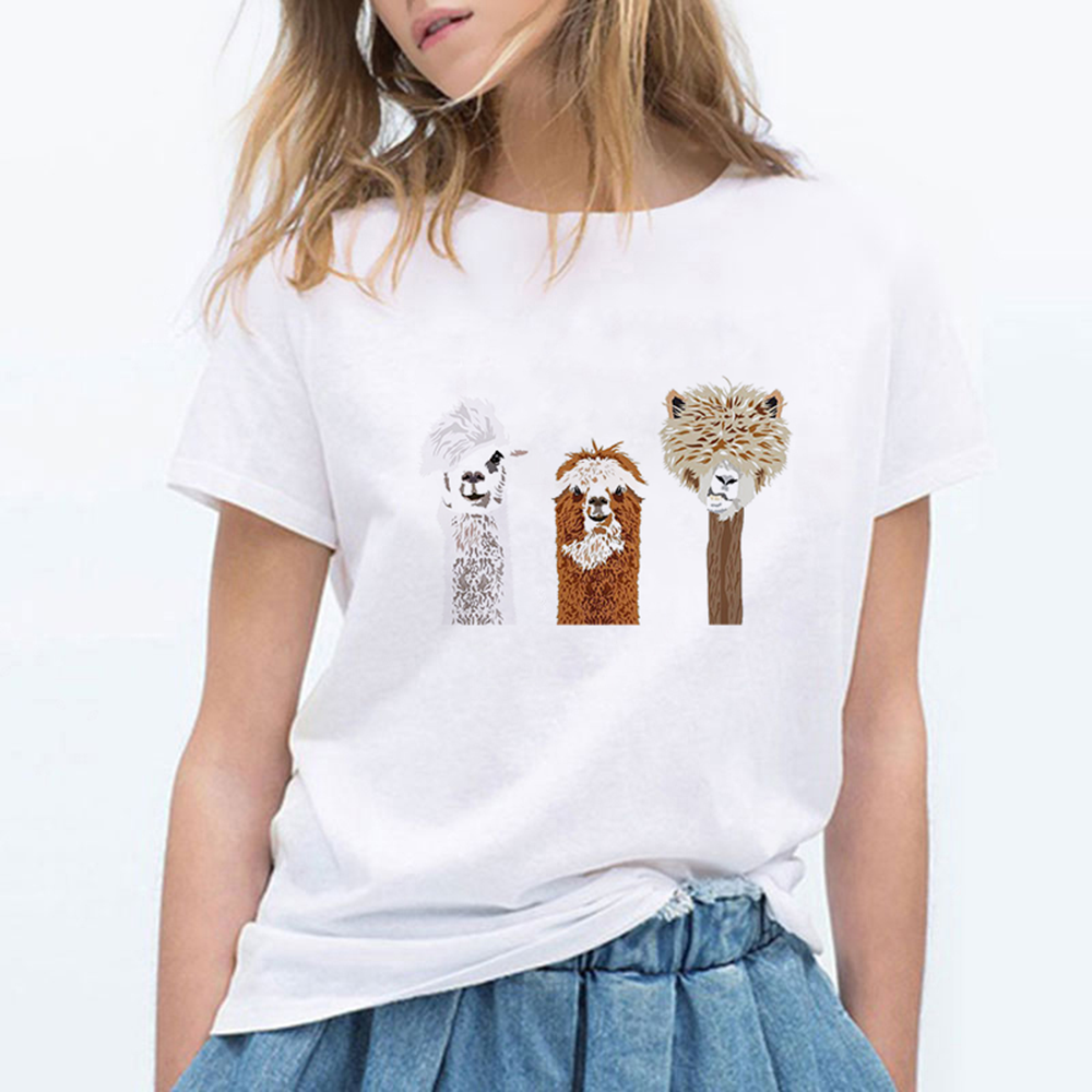 Alpaca Streetwear Spring Summer Kawaii Gym Tshirt Casual Oversize T-shirt Hip Hop Round Collar Harajuku Trendy Hipster T Shirt