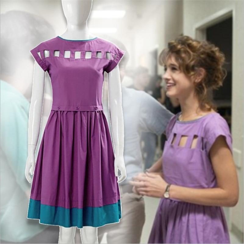 Étranger choses saison 3 cosplay Nancy Wheeler violet robe Onesies femme fête robe haute qualité creux femme Lolita