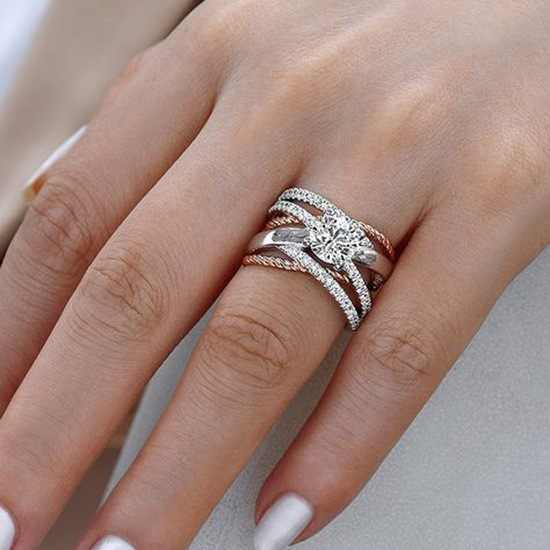 925 Silver AAA Zircon Luxury CUrve Intersection Female Crystal Round Stone Ring Engagement Ring Vintage Party Rings For Women