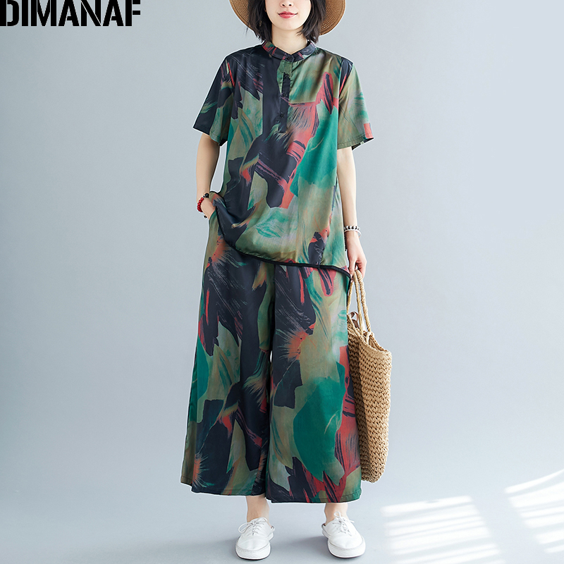 DIMANAF Plus Size Women Sets Suit Clothing Chiffon Elegant Lady Tops Shirts Long Pants Loose Casual Vintage Print 2 Pieces Set