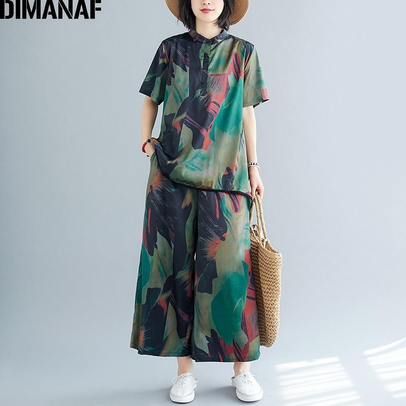 DIMANAF Plus Size Women Sets Suit Clothing Chiffon Elegant Lady Tops Shirts Long Pants Loose Casual Vintage Print 2 Pieces Set