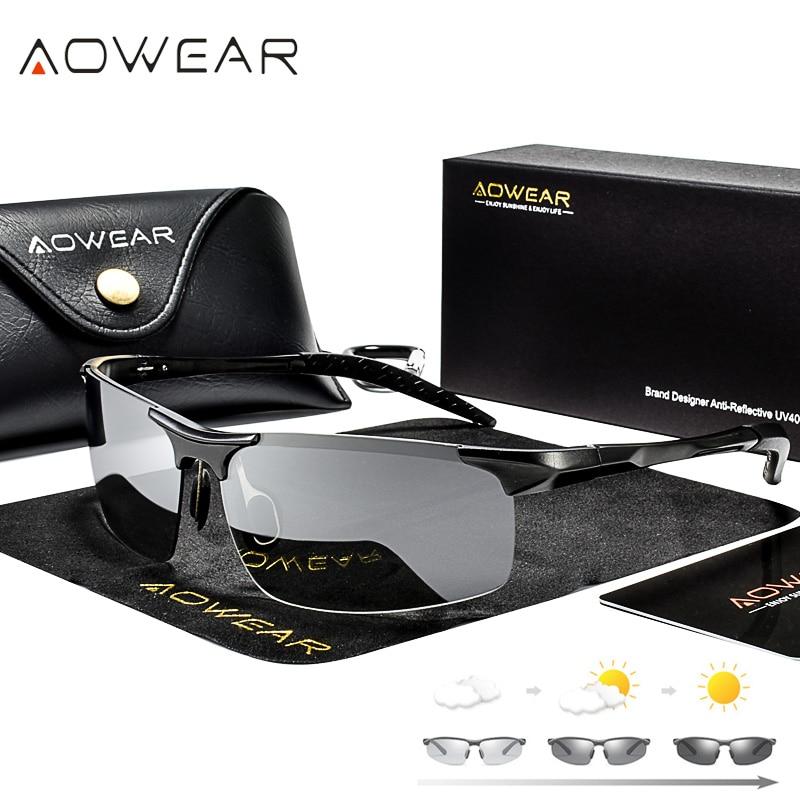 AOWEAR, алюминиевые фотохромные солнцезащитные очки без оправы, Мужские поляризационные очки для вождения в дневное и ночное время, очки хамелеоны с обесцвечивающимися линзами, очки Gafas|photochromic sunglasses mens|photochromic sunglassesbrand designer sunglasses | АлиЭкспресс