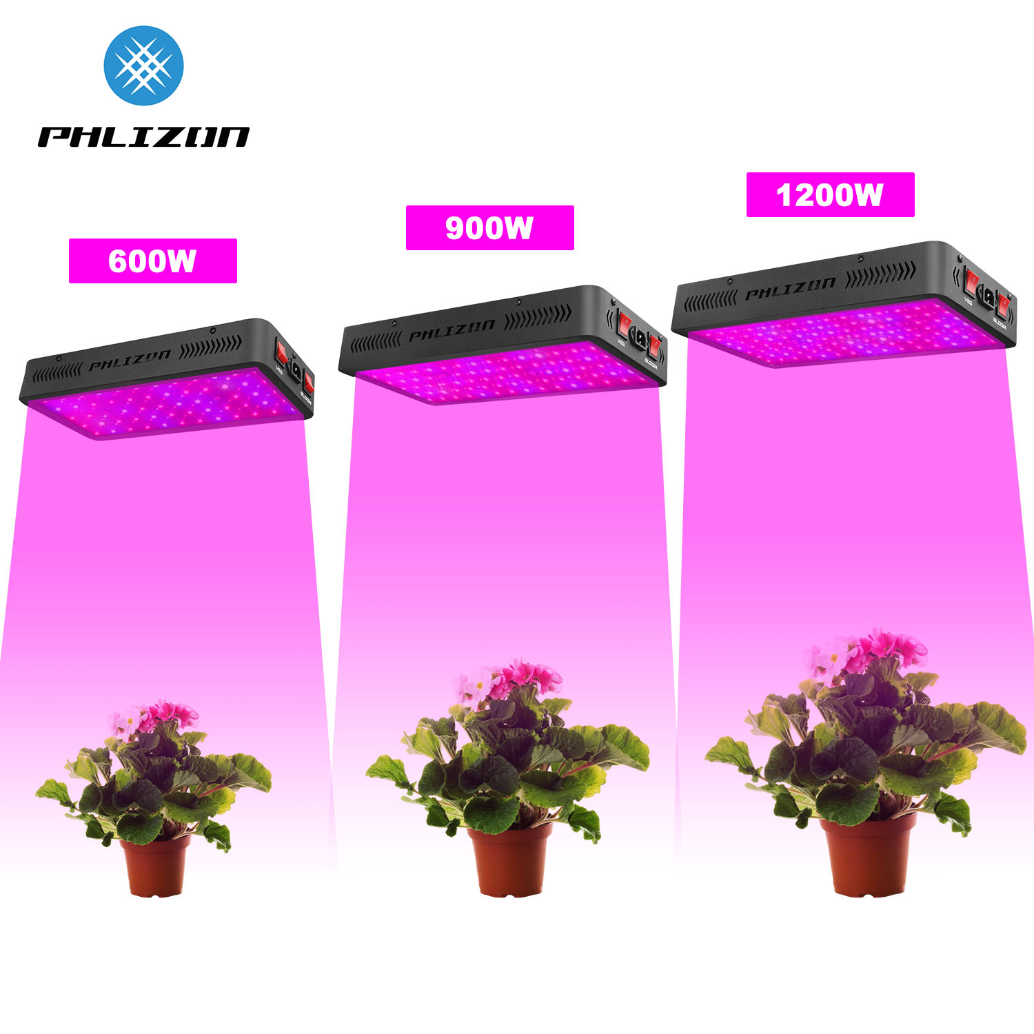Phlizon Full Spectrum 600/900W/1200W LED Grow Light Lamp For Indoor Plants Vegetation Flower Greenhouse Grow Tent