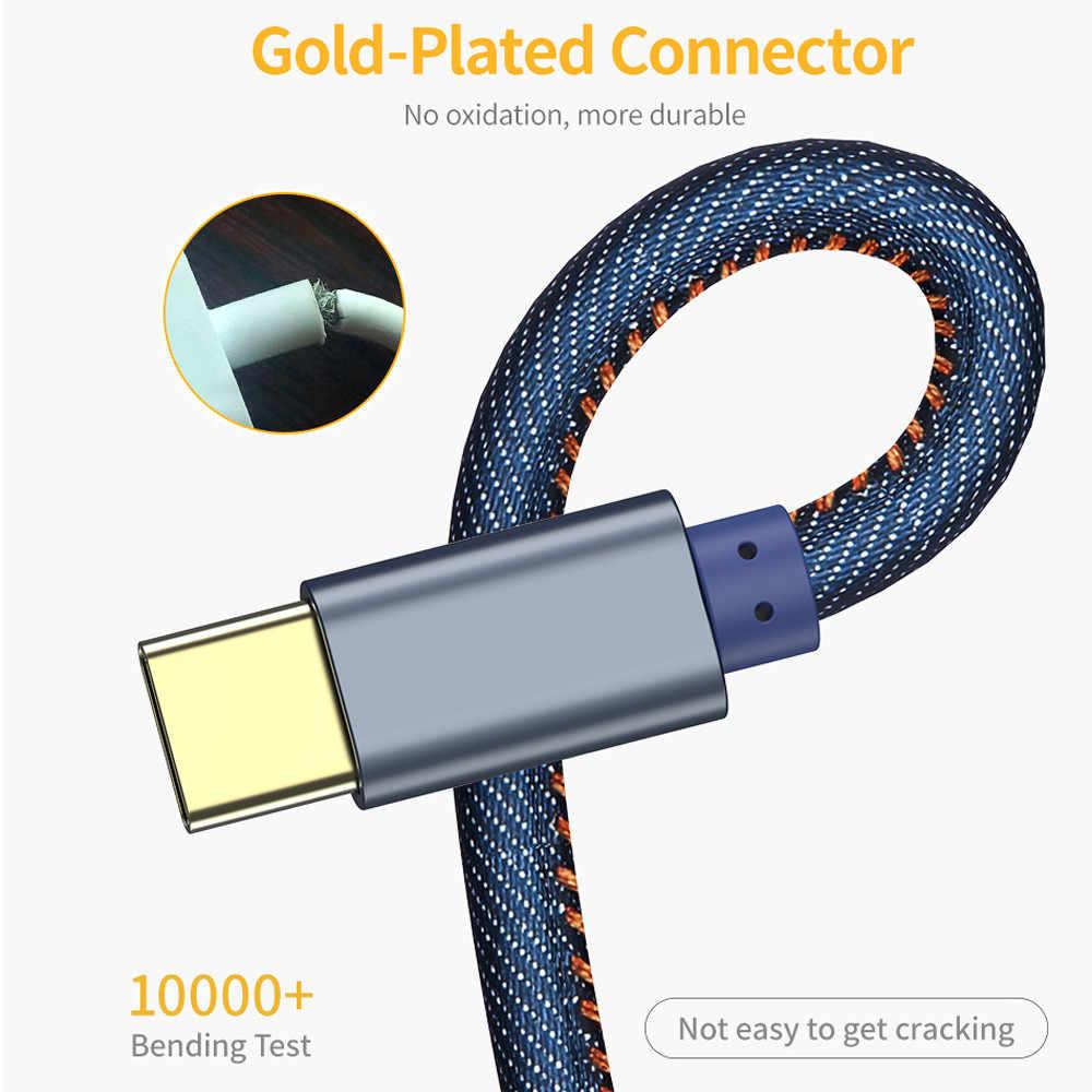 3A rodzaj usb C luksusowe szybkie ładowanie usb c kabel Denim type-c danych ładowarka przewodowa usb-c dla Huawei Plus Samsung S8 9 S10 Plus Xiaomi