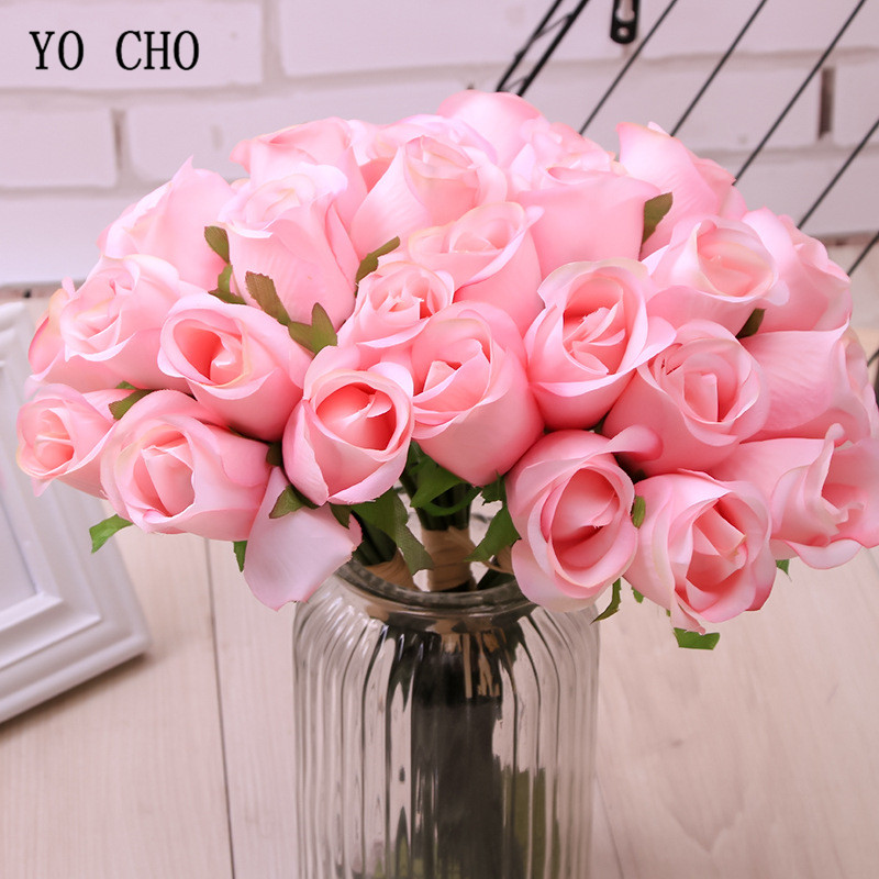 YO CHO Rose Flower Bouquet Artificial Silk 12 Heads Rose Champagne Red Bridal Wedding Bouquets Home Party Decor Wedding Supplies