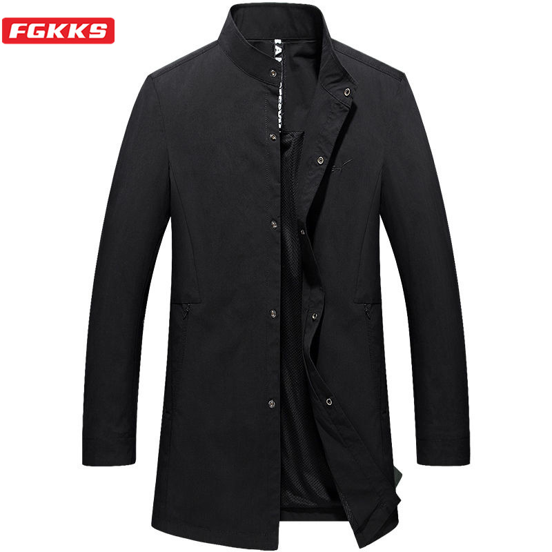 FGKKS 2020 New Men Solid Trench Business Casual Brand Men's Mid-Length Trench Male Stand Collar Slim Fit Trench Coats
