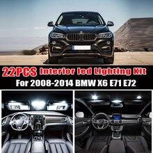 22pcs LED License plate lamp + Interior Dome Light Kit for 2008-2011 2012 2013 2014 BMW X6 E71 E72 X6 M