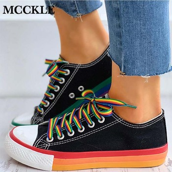 Women Flats Canvas Sneakers Vulcanized Shoes Colorful Board High Top Rainbow Walking Ladies Lace Up Female Casual 2020 Woman