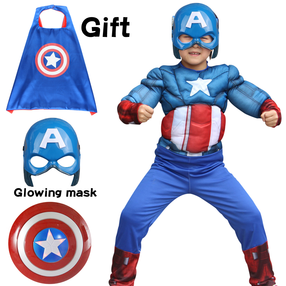 Christmas Carnival Superhero Kids Muscle Jumpsuits Mask Cape Shield Captain America Mask Cosplay Costumes For Boys Girls Dress