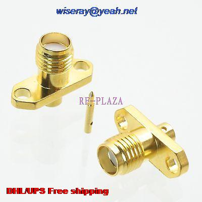 DHL/EMS 500pcs Connector RPSMA Female 2-holes Flange Solder Semi-rigid RG405 0.086