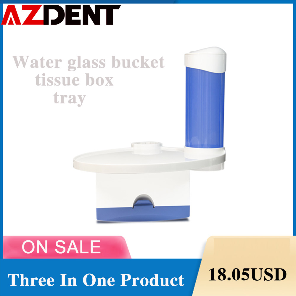 AZDENT 3 In 1 Dental Lab Chair Tray  Dentistry  Cup Storage Holder With Paper  Dental Issue Water Glass Bucket Tray