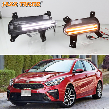 JAZZ TIGER 2PCS Yellow Dynamic Turning Function Waterproof ABS Car DRL LED Daytime Running Light For Kia Cerato 2018 2019 2020