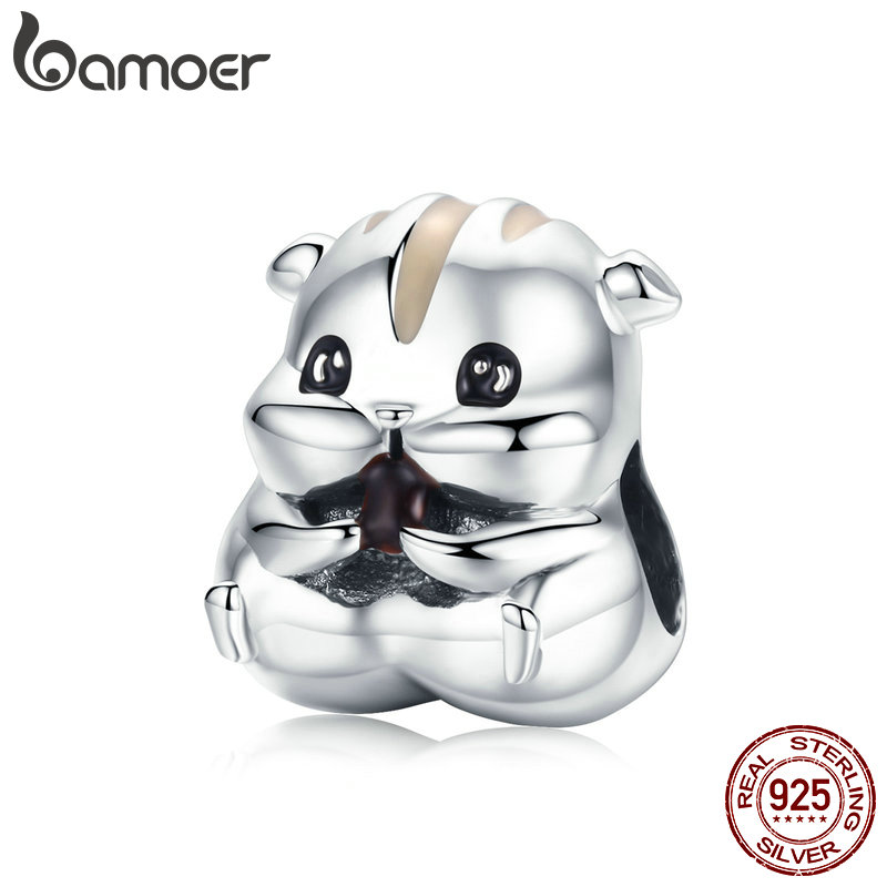 BAMOER Animal Collection 925 Sterling Silver Lovely Hamster Beads Fit Charms Bracelets & Bangles DIY Jewelry Making SCC1133