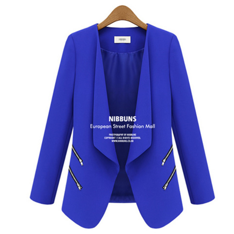 Blazers Women 2019 Black White Blue Blazer Long Sleeve Zipper Pocket Jacket Coat For Ladies Chaqueta Mujer Blazer Feminino Femme