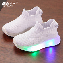 Size 21-30 Baby Anti-slippery Luminous Sneakers For Girls Wear-resistant Sneakers Children Casual Shoes Boys Led Light Up Shoes cheap Mater Kom 13-24m 25-36m 3-6y CN(Origin) Four Seasons unisex Rubber Fits true to size take your normal size Mesh (Air mesh)