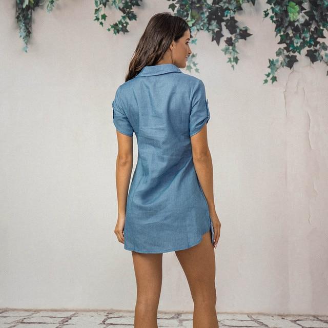 Denim Solid  Short Sleeves V-neck  Casual Turn Down Collar shirt Dress 3
