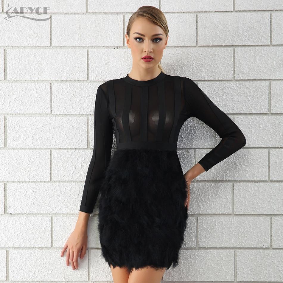 Adyce 2019 New Winter Women Bandage Dress Vestido Sexy Black Feathers Long Sleeve Lace Bodycon Club Celebrity Runway Party Dress