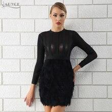 Adyce 2020 Mới Mùa Đông Nữ Băng Đô Đầm Lưới Hoa Đầm Vestido Gợi Cảm Lông Màu Đen Tay Dài Phối Ren Ôm Body Câu Lạc Bộ Nổi Tiếng Đường Băng Đầm Dự Tiệc