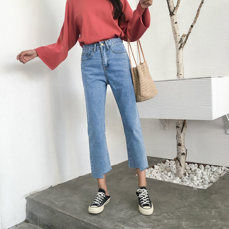 Image 3 - Jeans Women Chic Loose Simple Korean Style Casual Daily Autumn All match High Quality Trendy Student Pockets Womens Jean 2020 BFJeans   -