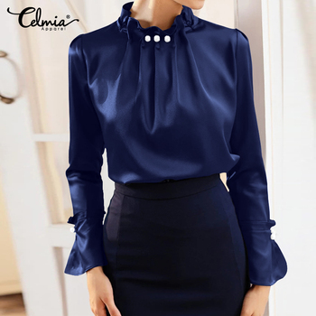 Women Elegant Office Blouses Long Sleeve Silk Shirt Pearl Stand Collar Female - Casual Blouse Plus Size 1