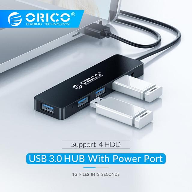 ORICO High Speed 4 Ports USB 3.0 HUB With Power Supply Port USB2.0 Splitter OTG Adapter for iMac Laptop Desktop Accessories