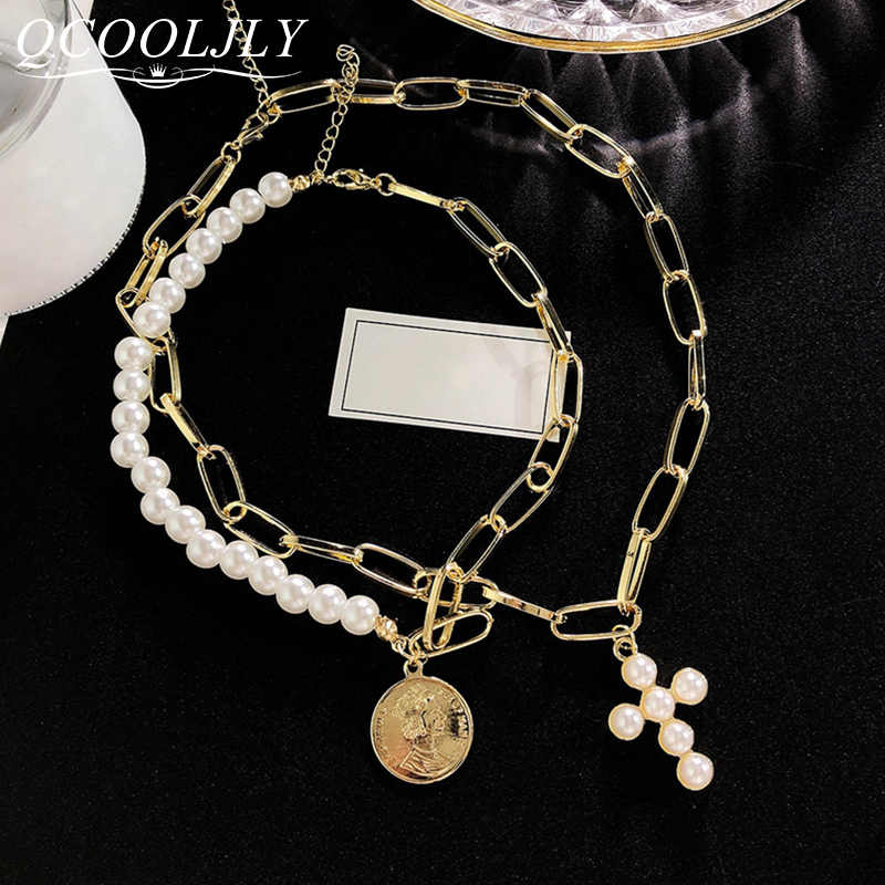 QCOOLJLY New Luxury Imitation Pearls Choker Necklace Female Cross Pendant Necklaces for Women 2019 Fashion Gold Coin Jewelry