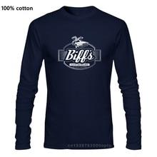 A garagem de biff encabeça a camisa t delorean, de volta ao futuro, mc fly, doc brown, camiseta de mangas compridas do carro