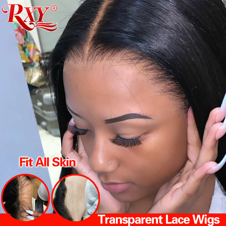 RXY Transparent Lace Wigs 360 Lace Frontal Wig Brazilian Lace Front Human Hair Wigs Remy Straight Lace Front Wig 250% Density