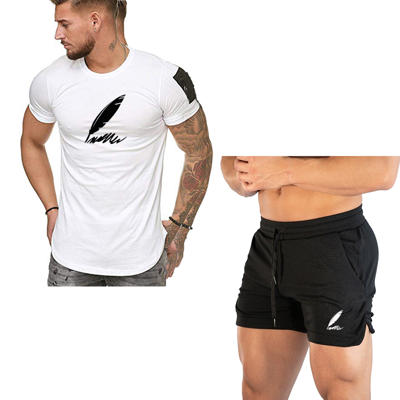 2020 Classic Tracksuit Men Sweatshirt Sets Mens Summer Pants Short T-shirt Quick Dry Beach Shorts Casual Suits Mens Sportswear