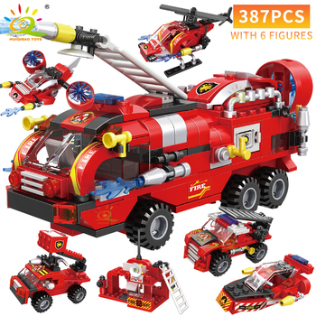 HUIQIBAO 387pcs 6in1 Fire Fighting Trucks Car Helicopter Boat Building Blocks City Firefighter Firemen Figures Bricks Toys Child 2