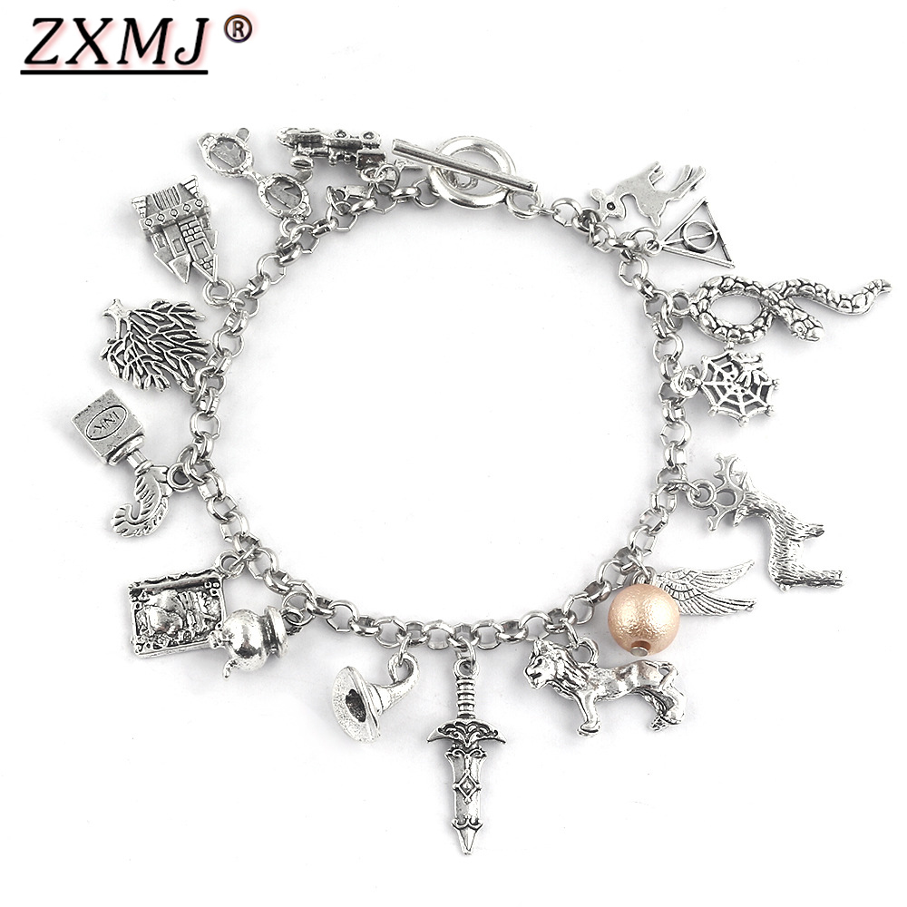 ZXMJ Harried Deathly Hallows Bracelet Magic Stick Hat Potters Sword Vintage Bracelets Bangles Fans Halloween Christmas Jewelry|Chain & Link Bracelets| - AliExpress