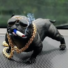 Creative Personality Car Overbearing Dog Decoration High-end Car Supplies Trend Dog Simulation Doll Fashion Cool Car Ornaments