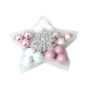 24 sztuk srebrny różowy boże narodzenie śnieżynka w kształcie zestaw dekoracje na boże narodzenie boże narodzenie piłka wisiorek w kształcie płatka śniegu zestaw Snowflake Ornament tanie i dobre opinie Christmas Snowflake Shaped Set