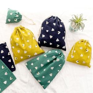 Fashion Cotton Drawstring Shopping Bag Eco Reusable Folding Grocery Cloth Underwear Pouch Case Travel Home Storage Bag