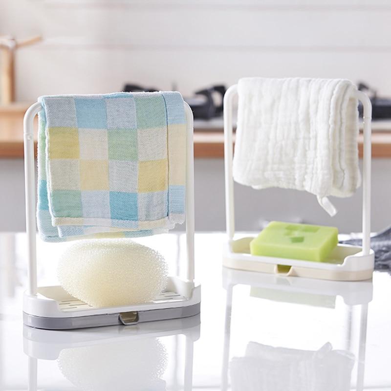 1pc New Kitchen Rack Storage Holders Towel Sponge Rack Holder Organizer Broom Hanging Rack For Kitchen Bathroom Supplies