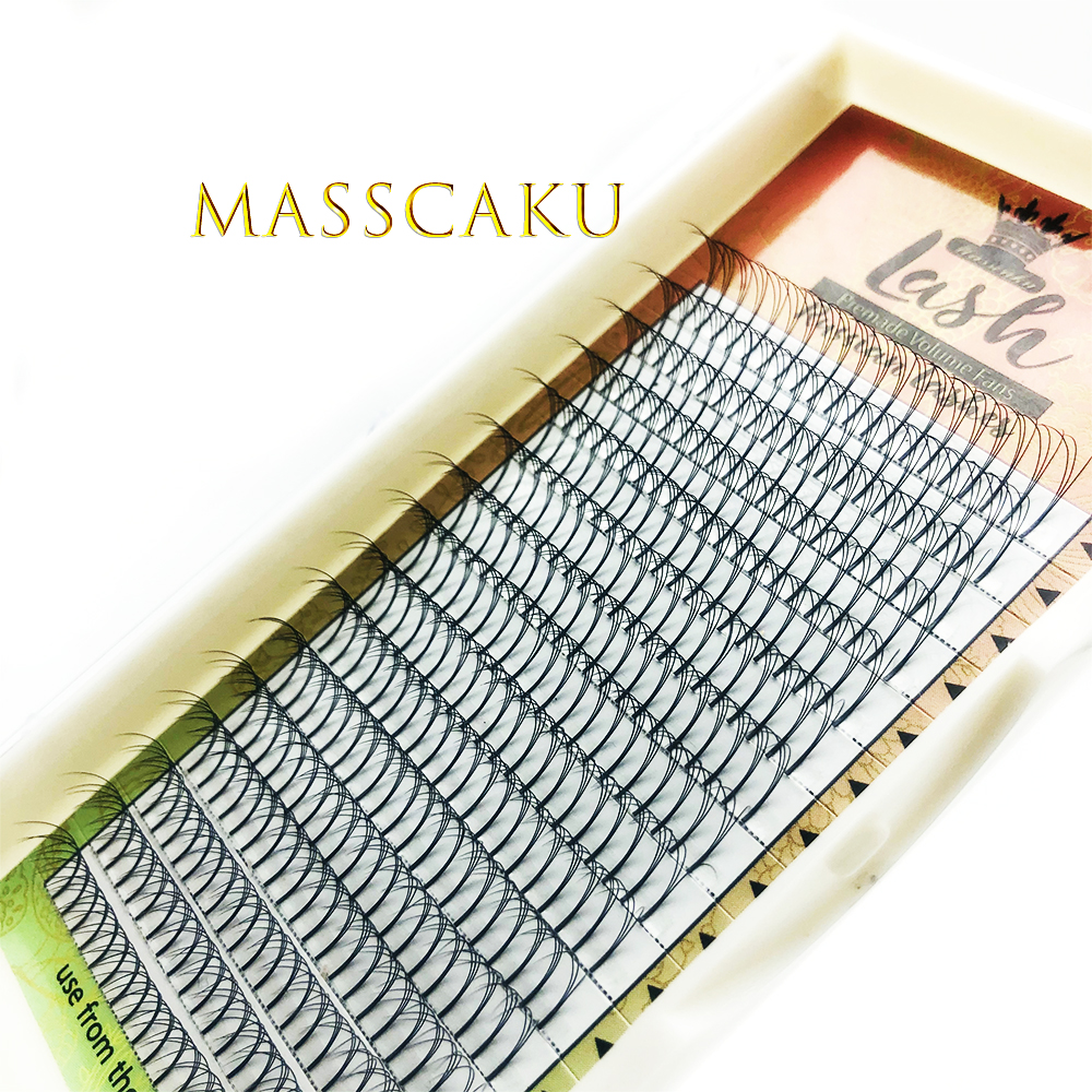 Готовые объемные вееры MASSCAKU 2D-9D, накладные ресницы с длинным стержнем, индивидуальные шелковые Накладные ресницы ручной работы из натураль...