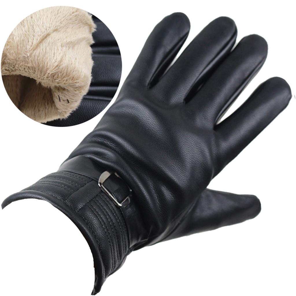 Mens Actical Gloves Gloves Leather Thermal Warm Winter Using Phone For Driving Cycling Running Gloves #YL5