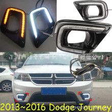 цена на LED Daytime Running Light For Dodge Journey Fiat Freemont 2014 2015 2016 Yellow Turn Signal Relay DRL Fog Lamp Decoration